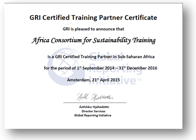 ACTS GRI certificate