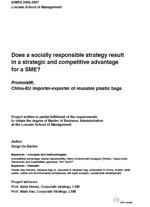 «Does a socially responsible strategy result in a strategic and competitive advantage for SME?»
